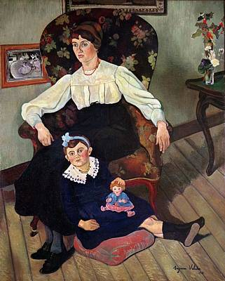 Portrait Of Marie Coca And Her Daughter Print by Marie Clementine Valadon