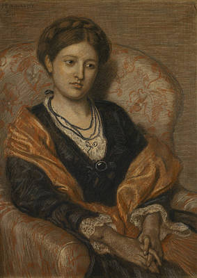 Portrait Of Miss Iza Duffus Hardy Print by Ford Madox Brown