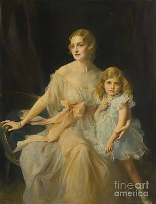 Young Painting - Portrait Of Mrs. Claude Leigh And Miss Virginia Leigh by MotionAge Designs