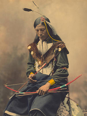 Archer Photograph - Portrait Of Oglala Sioux Council Chief Bone Necklace by American School
