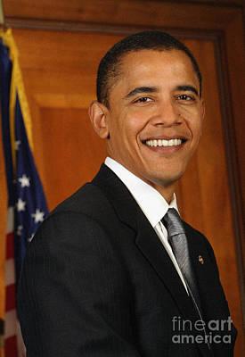 Barack Obama Painting - Portrait Of President Barack Obama by Celestial Images