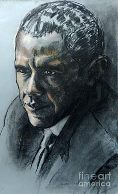 Charcoal Portrait Of President Obama Print by Greta Corens