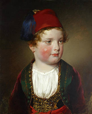 Friedrich Von Amerling Painting - Portrait Of Prince Victor Odescalchi In Greek Costume At The Age Of Five by Friedrich von Amerling