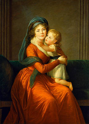 Portrait Of Princess Alexandra Golitsyna And Her Son Piotr Print by Louise Elisabeth Vigee Le Brun