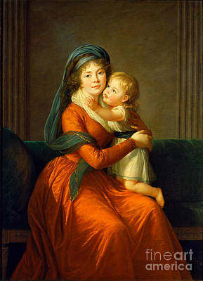 Portrait Of Princess Alexandra Golitsyna And Her Son Piotr Print by Celestial Images