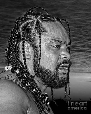 Tonga Digital Art - Portrait Of Pro Wrestler Jacob Fatu by Jim Fitzpatrick