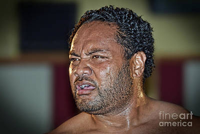 Tonga Digital Art - Portrait Of Pro Wrestler Sione Finau by Jim Fitzpatrick