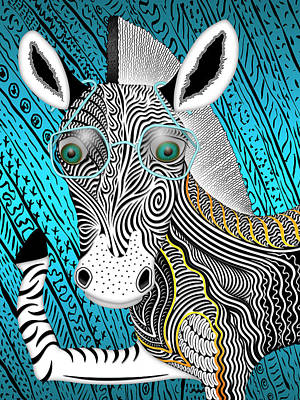 Portrait Of The Artist As A Young Zebra Print by Becky Titus