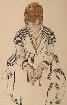 Portrait Of The Artist's Sister-in-law, Adele Harms Print by Egon Schiele