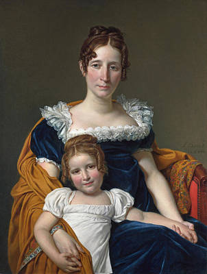 Jacques-louis David Painting - Portrait Of The Comtesse Vilain Xiiii And Her Daughter by Jacques-Louis David