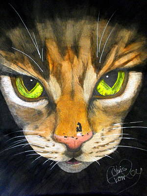 Watercolor With Pen Painting - Portrait Of Tigger by Chris Crowley