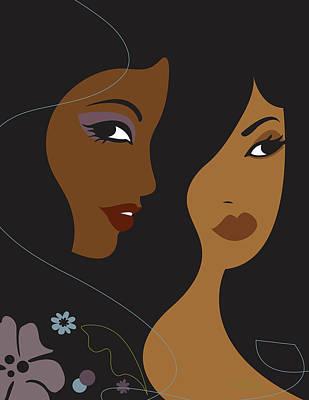 Portrait Of Two Africian American Women Print by Lisa Henderling