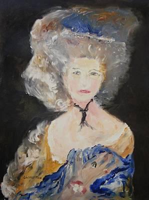 Portrait Of Woman In Blue Print by Edward Wolverton