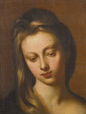 Painting - Portrait Study Of A Young Lady Looking Downwards Bust-length by Godfrey Kneller
