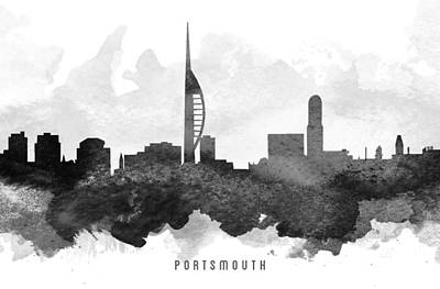 Portsmouth Painting - Portsmouth Cityscape 11 by Aged Pixel