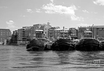 Black_white Photograph - Portsmouth Tugboats by Cathy Fitzgerald
