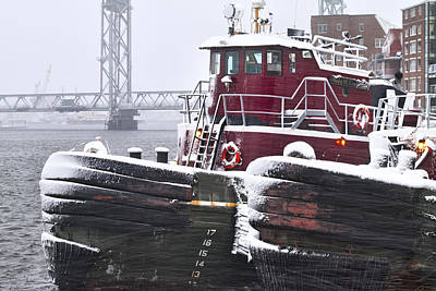 Portsmouth Tugs In A Blizzard Print by Eric Gendron