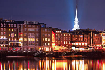 Portsmouth Waterfront At Night Print by Eric Gendron