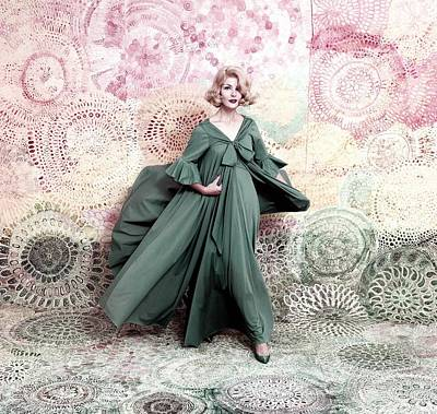 Ball Gown Photograph - Pose Against A Mural Of Swirling Roses by Conde Nast
