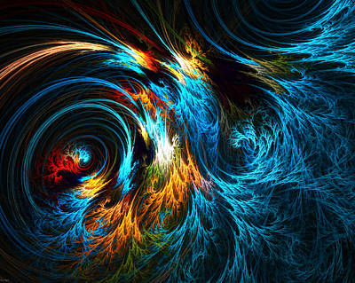Abstract Waves Digital Art - Poseidon's Wrath by Lourry Legarde