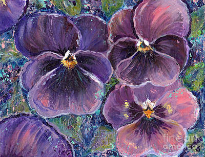 Posing Pansies Original by Renee Lavoie