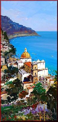 A Summer Evening Landscape Painting - Positano Seascape by Antonio Iannicelli