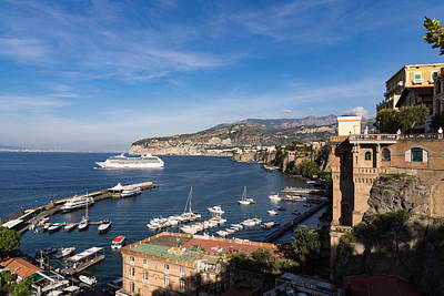 Postcard From Sorrento Italy - The Harbor The Boats And The Famous Clifftop Hotels Print by Georgia Mizuleva