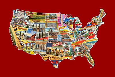 Old Mixed Media - Postcards Of The United States Vintage Usa Lower 48 Map Choose Your Own Background by Design Turnpike
