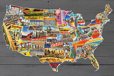 48 Mixed Media - Postcards Of The United States Vintage Usa Lower 48 Map On Gray Wood Background by Design Turnpike