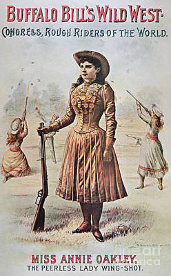 Buffalo Drawing - Poster For Buffalo Bill's Wild West Show With Annie Oakley by American School
