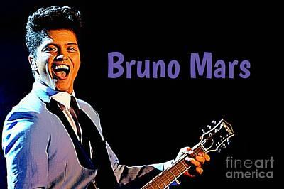Lazy Mixed Media - Poster Of Bruno Mars by John Malone