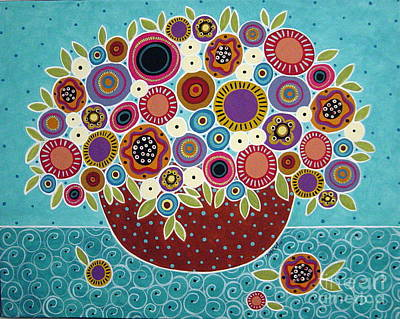 Folk Art Painting - Pot Of Bloomers by Karla Gerard