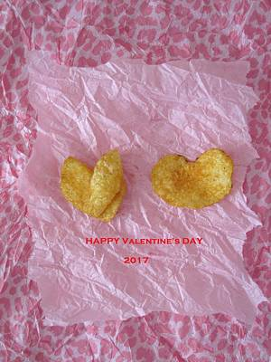 Potato Mixed Media - Potato Chip Valentine by Mary Ellen Frazee