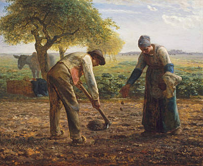 Jean Francois Millet Painting - Potato Planters by Jean Francois Millet