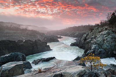 Potomac River At Great Falls Sunrise Landscape Print by Mark VanDyke