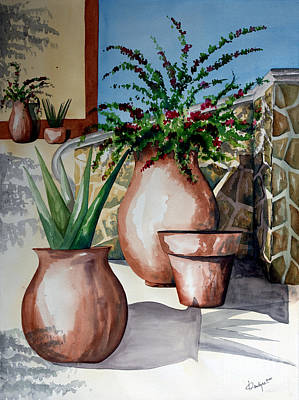 Mexican Painting - Pots And Bougainvillea by Kandyce Waltensperger