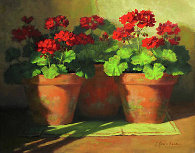 Potted Geraniums Print by Linda Jacobus