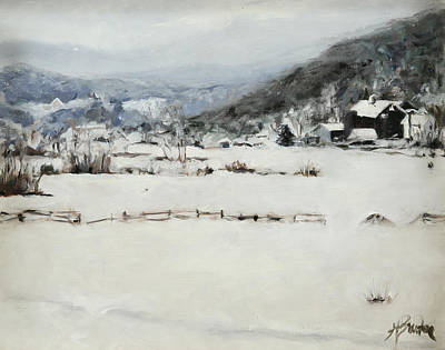 Heather Burton Painting - Potter Hollow In Winter by Heather Burton