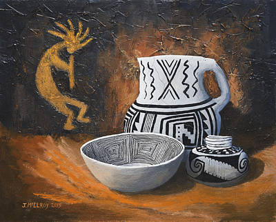 Southwest Art Painting - Pottery And Petroglyphs by Jerry McElroy