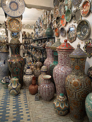 Ceramics Photograph - Pottery In Sales Room, Fes, Morocco by Panoramic Images