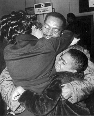 Bonding Photograph - Pow Greets Family by Underwood Archives