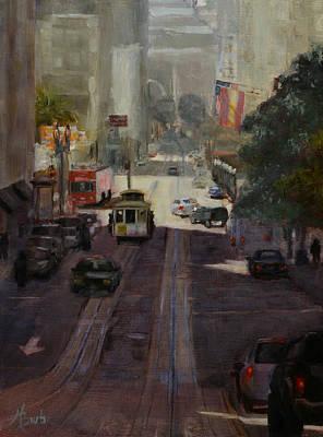 Heather Burton Painting - Powell Street Morning by Heather Burton