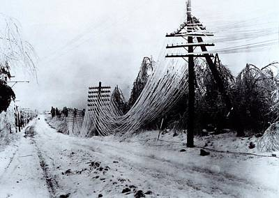 Winter Storm Photograph - Power And Telephone Lines Sagging by Everett