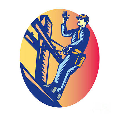 Power Lineman Electric Post Waving Oval Woodcut Print by Aloysius Patrimonio