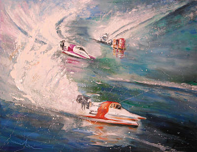 Portugal Art Painting - Powerboat Racing In Portugal by Miki De Goodaboom