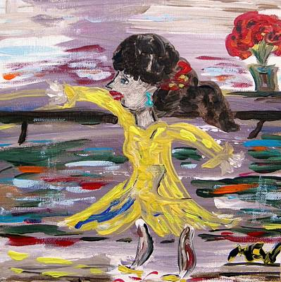 Dance Floor Painting - Practice Modern Dance by Mary Carol Williams