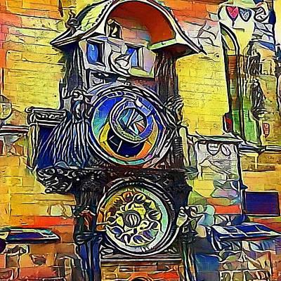 Praha Drawing - Prague Astronomical Clock - My Www Vikinek-art.com by Viktor Lebeda