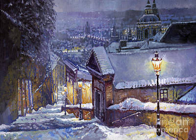 Town Painting - Prague Castle Steps Winter   by Yuriy Shevchuk