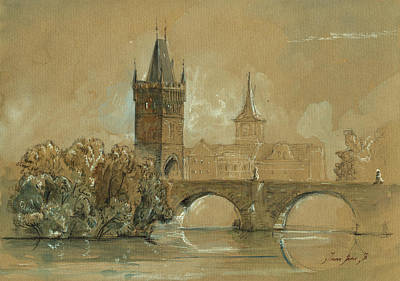Prague Charles Bridge Painting Original by Juan  Bosco