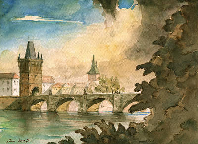 Prague Cityscape Art Original by Juan  Bosco